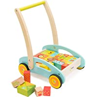 cossy Wooden Baby Learning Walker Toddler Toys for 1 Year Old Forest Theme Blocks & Roll Cart Push Toy (37 Pcs) Updated…