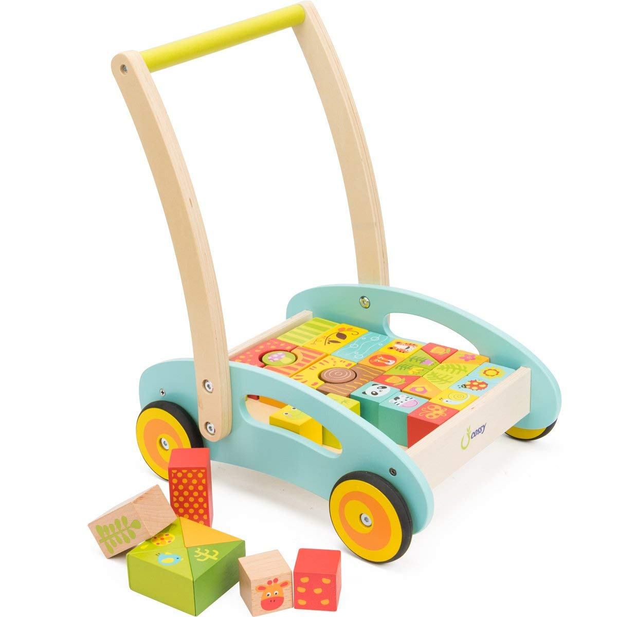 cossy Wooden Baby Learning Walker Toddler Toys for 1 Year Old Forest Theme Blocks & Roll Cart Push Toy (37 Pcs) Updated Version