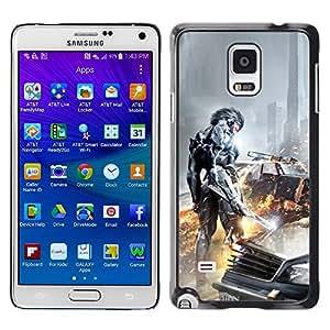 EJOY---Cubierta de la caja de protección la piel dura para el / Samsung Galaxy Note 4 / --Ciber Guerrero