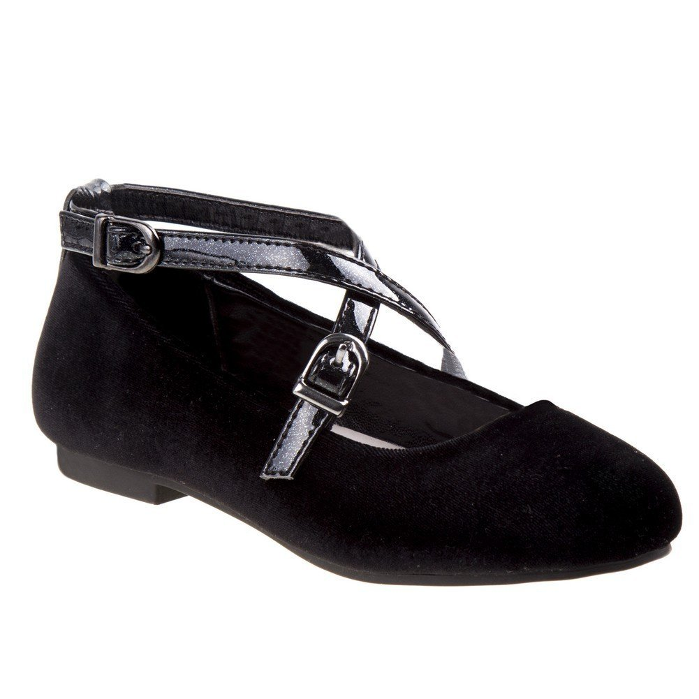 Nanette Lepore Girls Black Velvet Criss Cross Buckle Strap Shoes 1 Kids