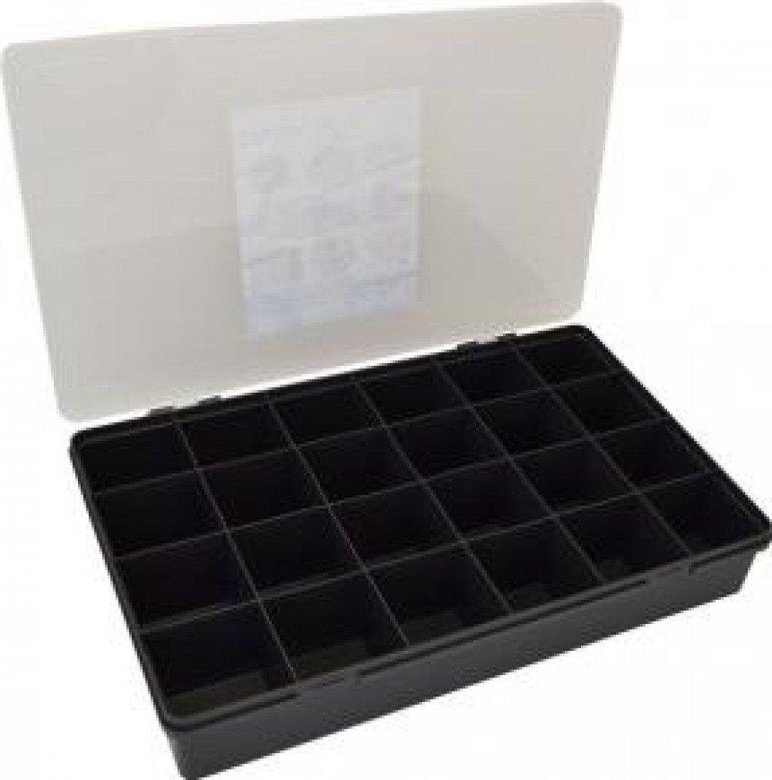 Wham 13800 Gro/ße Sortierbox 24-F/ächer Graphite//Clear 59,5x39,5x10cm