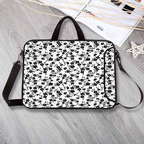 House Decor Waterproof Neoprene Laptop Bag,Flower Pattern Blooms Simple Silhouettes Classics Interiors Ornate Illustration Decorative Laptop Bag for Business Casual or School,14.6