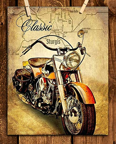 (Harley Davidson- Classic Motorcycle Vintage Print with Sturgis Map- 8 x10 Wall Decor Image Ready To Frame. Harley Davidson Gifts. Home Decor- Office Decor. Perfect for Man Cave-Game Room-Garage.)