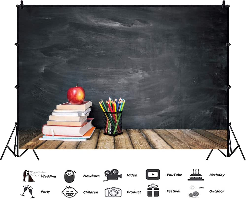 RBQOKJ 10x10ft Back to School Backdrop Chalkboard Wooden Books Photography Background for Students Party Shoot Backdrops Studio Prop