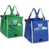 2 Packs of Foldable Shopping Bag for Cart Nylon Reusable Eco-friendly Grocery Bag, Blue + Green