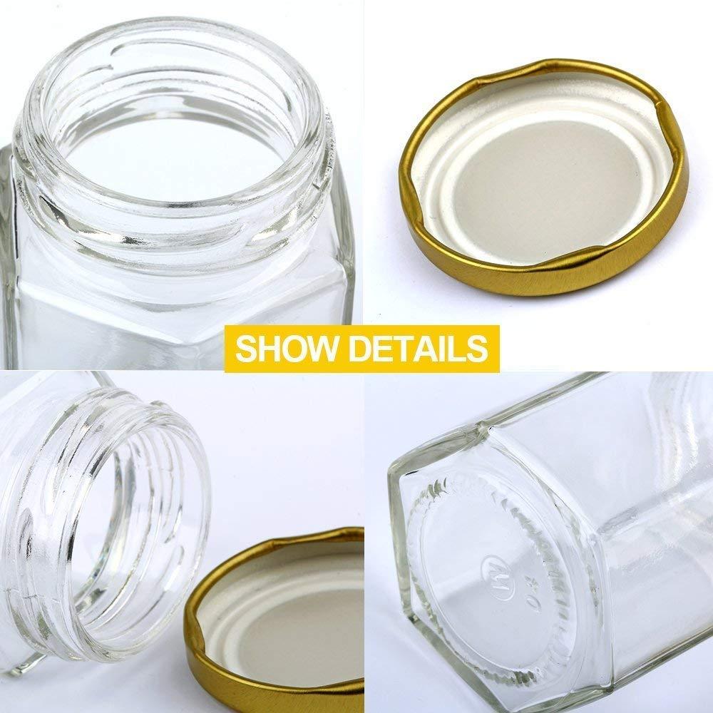bebd5cb57d0b Encheng 4 oz Clear Hexagon Jars,Small Glass Jars With Lids(Golden ...