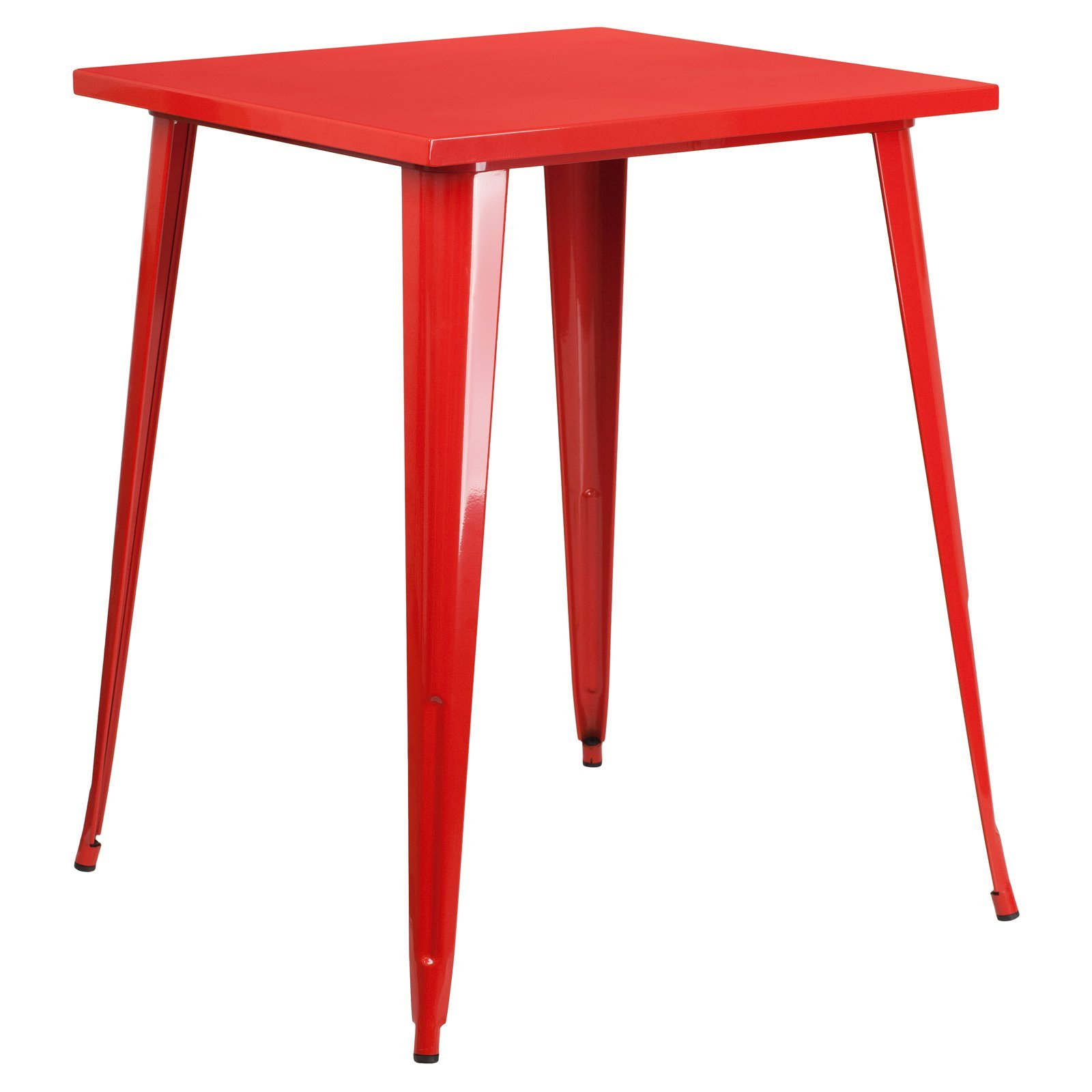 Basic 31.5'' Square Metal Indoor/Outdoor Bar Height Table with Protective Rubber Feet to Prevent Floor Damage, Thick Brace Underneath for Added Stability, Red + Expert Home Guide by Love US