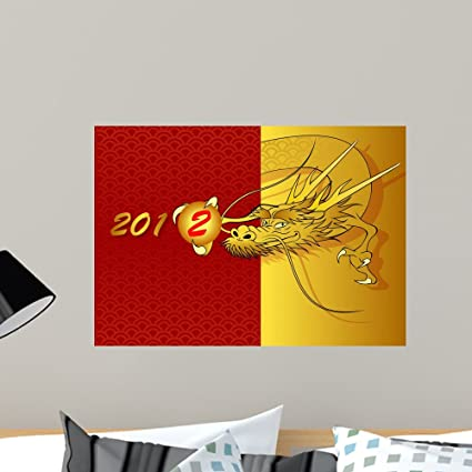 0405ab5d38155 Amazon.com  Wallmonkeys Golden Dragon Wall Mural Peel and Stick ...