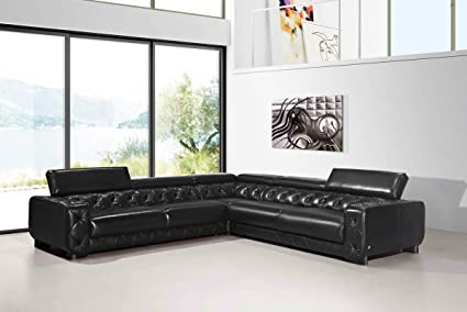 Amazon.com: Divani Casa Lyon Modern Black Italian Leather Sectional ...