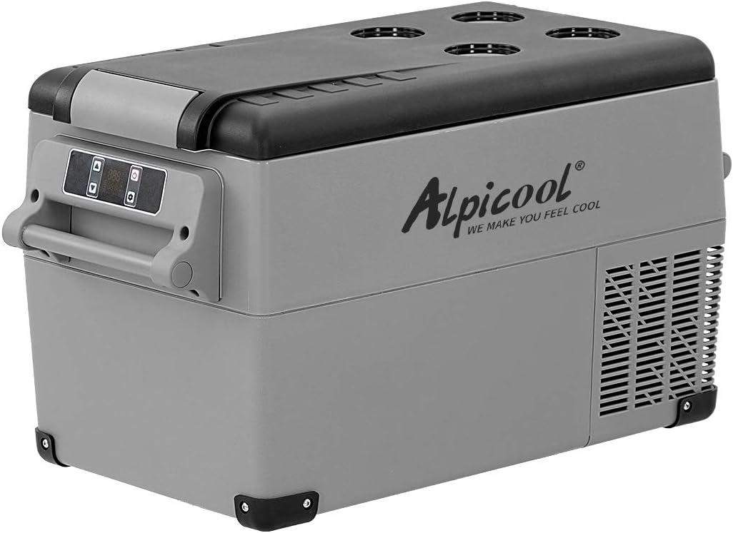 Alpicool CF35 35 Litros Nevera Portátil Eléctrica Refrigerador de Coche 12V 24V mini frigorífico CA 220v para Hogar, Camping, Viajes, Automóvil, 20ºC a 20ºC