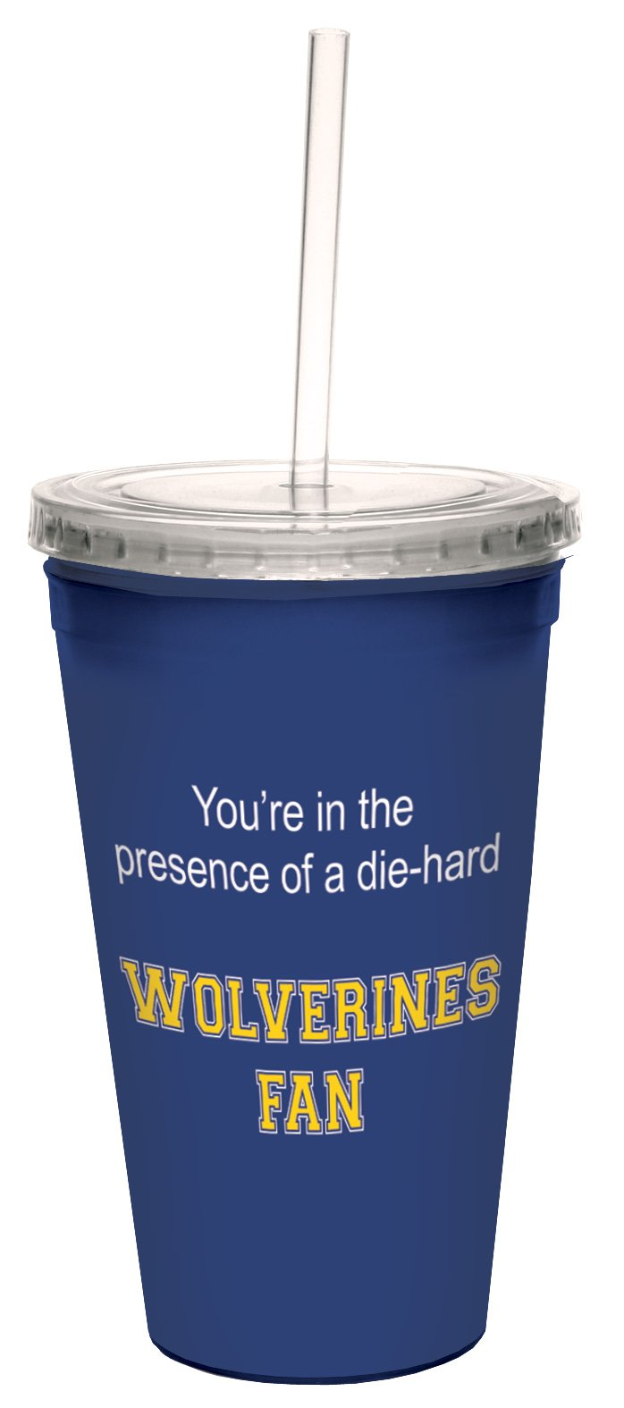 Tree-Free Greetings cc34786 Wolverines College Basketball Artful Traveler Double-Walled Cool Cup with Reusable Straw, 16-Ounce