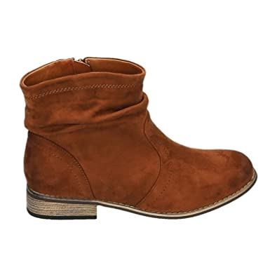 3f0bd9591a5529 HP86 Bottines pour femme Style cowboy/western Chaussures plates - - camel,