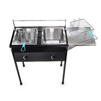 Bioexcel Taco Cart Outdoor Two-tank Deep Fryer