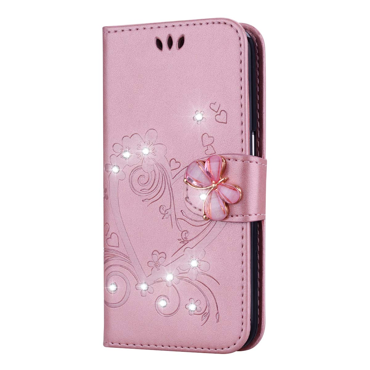 Bear Village Case Compatible with Apple iPhone 11 Pro, Leather Full Body Protective Cover with Credit Card Slot, Magnetic Closure and Kickstand Function, Rose Gold by Bear Village