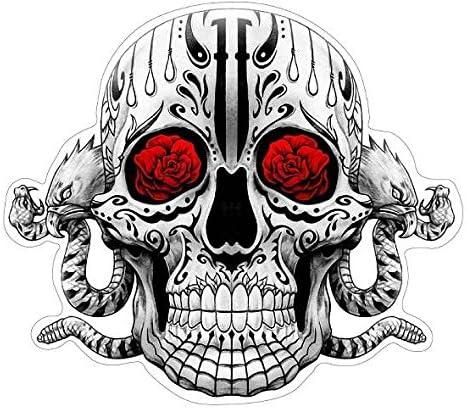 Sugar Skull Aufkleber Black N Grey Red Sticker Schädel Adler Schlange Rosen Auto