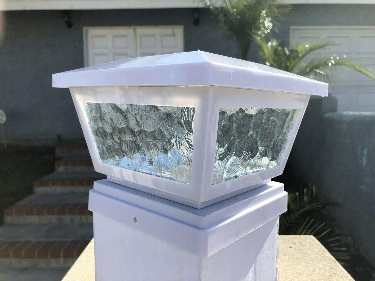 Ntertainment House 2-pcs Solar Post Cap Lights with Pebbled Print Glass Frames and 2 Ultra Bright SMD LEDs w/Optional Wall Mount 6x6 5x5 or 4x4 Base adapters (White, 4x4) by Ntertainment House