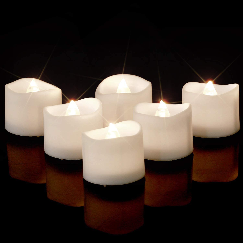 24 x Flickering Led Tea Light Candles Tealight Tea Lights With Batteries New