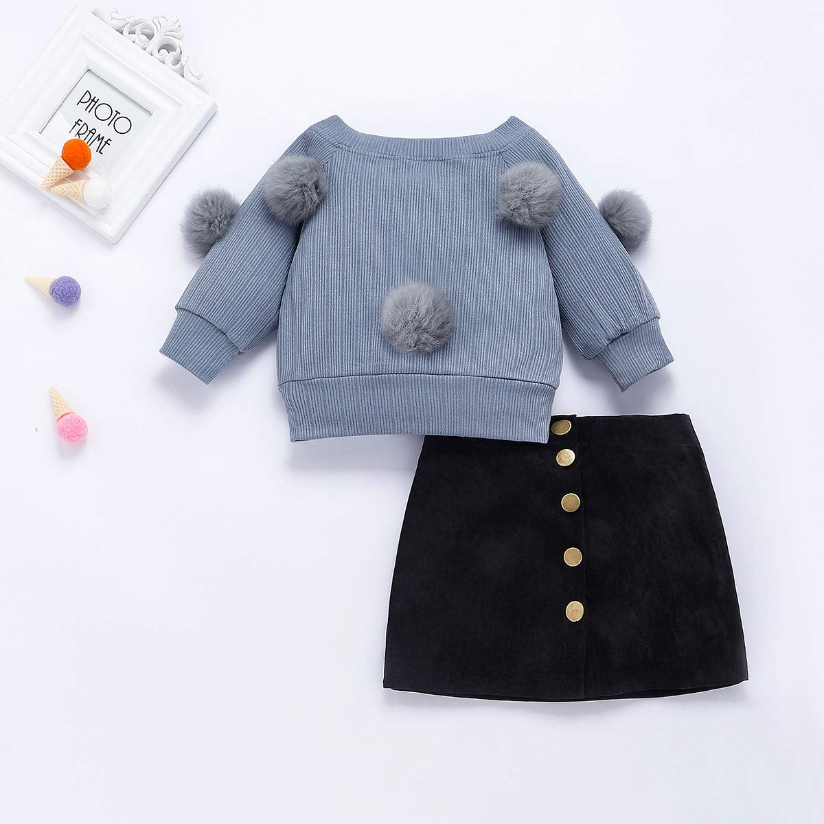 Button Pencil A-Line Skirt Set Fall Winter Clothes 2Pcs Toddler Baby Girls Long Sleeve Ball Knit Sweater Top