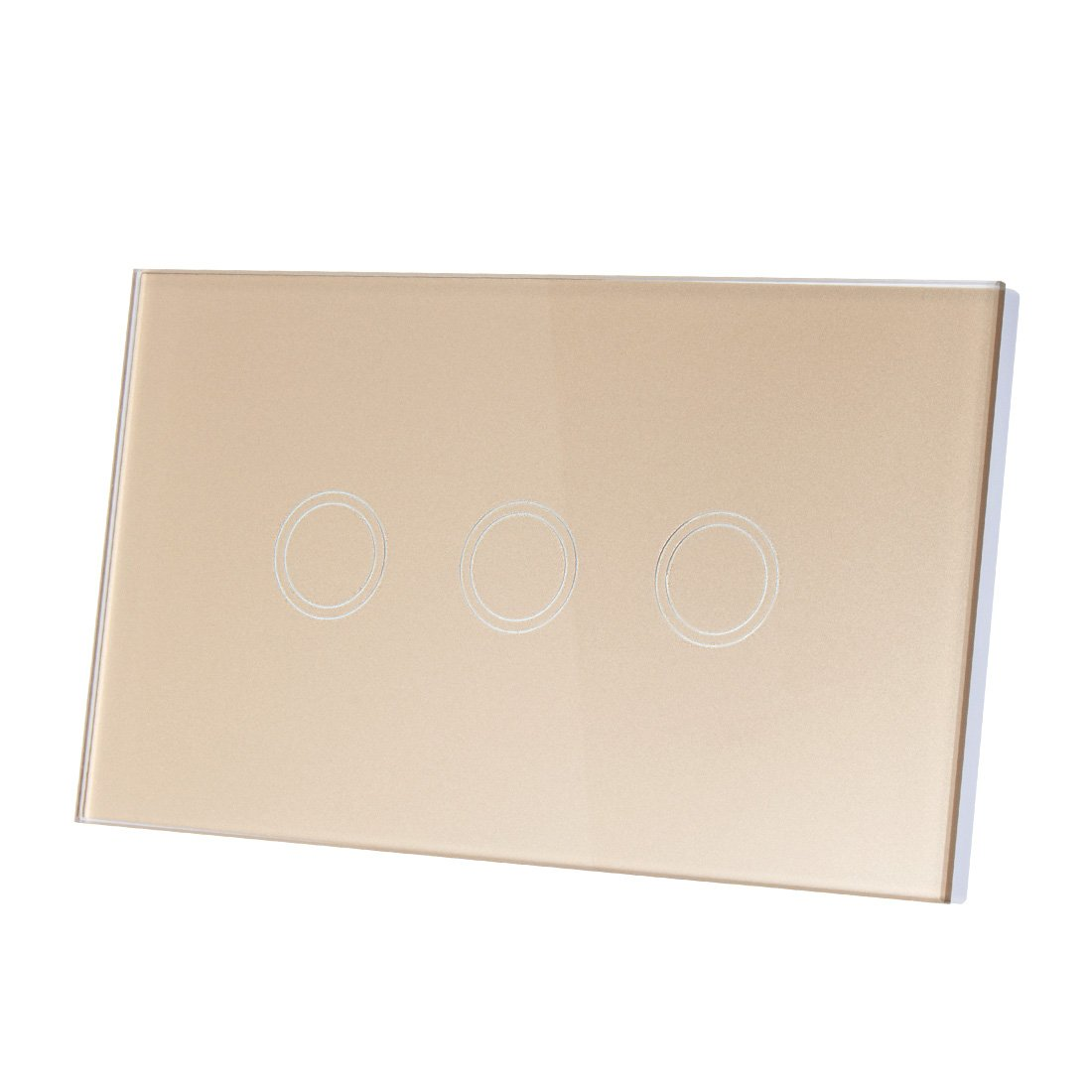 uxcell Touch Wall Light Switch, Luxury Crystal Glass Panel, AC 110-240V 1 Way 3 Gang Smart Touch Switch Gold US