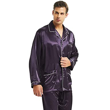 Mens Silk Satin Pajamas Set Sleepwear Loungewear S~4XL Plus Gifts at ... 3a0d36cd9