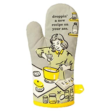 Blue Q Oven Mitt  Droppin' a New Recipe , Grey/Yellow, One Size