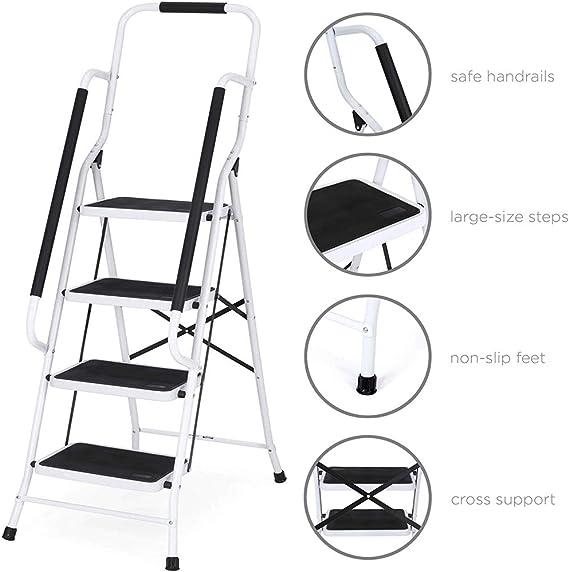 Trittleiter 1 Stufen Klappbar Stehleiter Kompakte Robuste Hochwertige Stahlstufen mit Rutschfesten Matten f/ür zu Hause//B/üro//K/üche