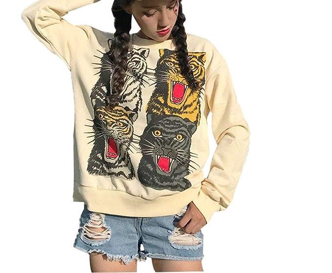 Vintage Retro Ladies Loose Sweater Tiger Head Abrigo Manga De Extragrande Larga Fiesta Estilo Cuello Redondo con Estampado Sudadera Jumper Tops Niña: ...