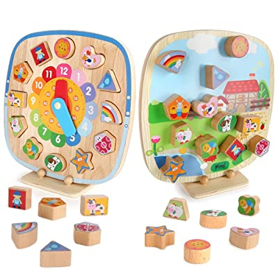 BeebeeRun Shape Sorting Clock for Kids, 5 IN 1 DOUBLE-SIDED Telling Time Teaching Clock,Montessori Toys for 3 4 5 6 Year Old Toddler Baby, Wooden Magnetic Animal Puzzle, Early Learning Educational Toy: Toys & Games