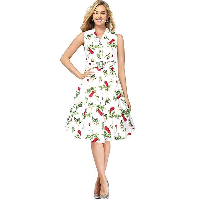 BOMOVO Vestidos para Mujer Vintage Años 50 Casual Coctel Retro 1950S Vestido de cóctel con Estampado