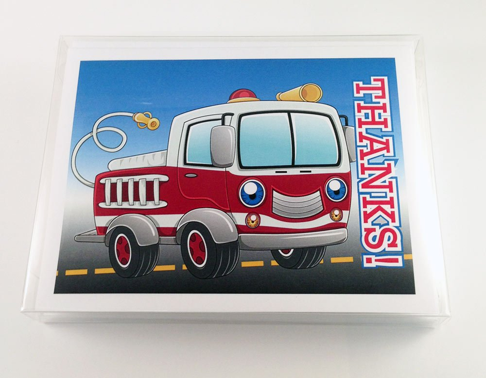 Fire Truck Thank You Note Card - 18 Boxed Cards & Envelopes