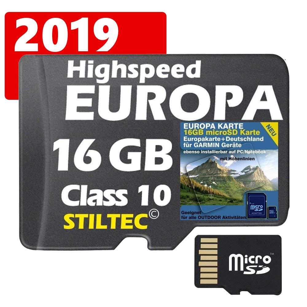 EUROPA Karte Topo Höhenlinien  16 GB microSD Garmin+PC Montana Dakota 20 GPSMap