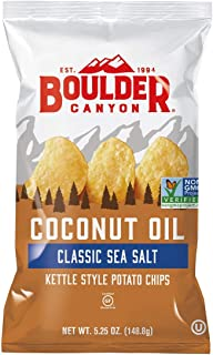 product image for Boulder Canyon Coconut Oil Kettle Cooked Potato Chips, Sea Salt, Gluten Free, Crunchy Chips Cooked in 100% Coconut Oil, Perfect for Dipping, Great for Lunches or Snacks, 5.25 Ounce, Pack of 12