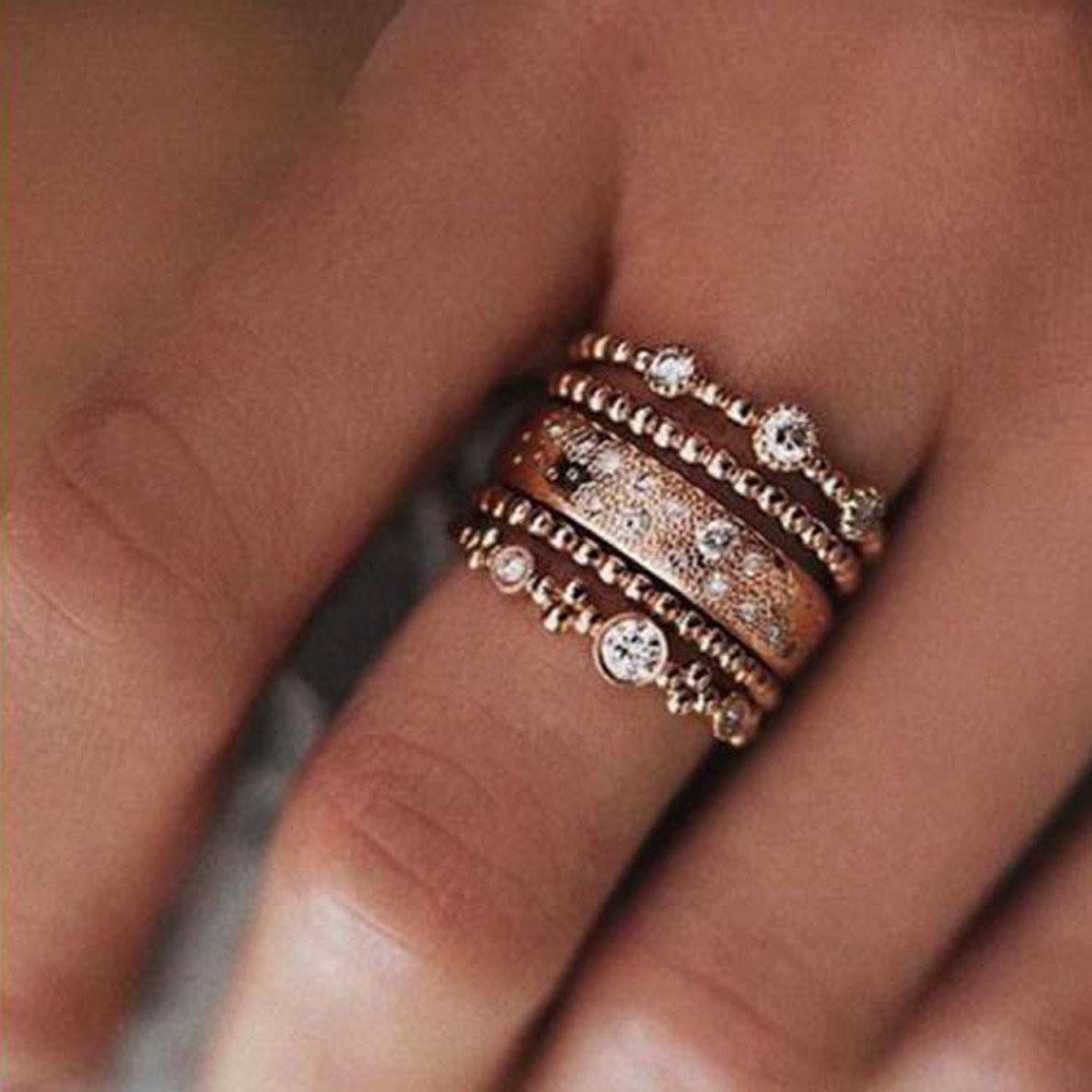 Uscharm Rose Gold Stackable Ring 5 Sparkly Rings Gold Womens Rings For Girls (GD9) by Uscharm (Image #2)