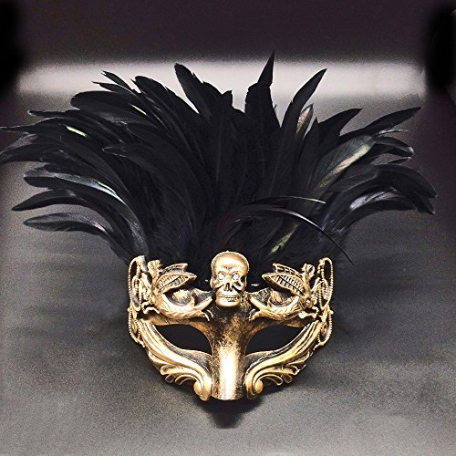 Gold Face with Black Feather Skull Masculine Greek & Roman Style Men Venetian Metallic Mask For Masquerade / Party / Ball Prom / Mardi Gras / Wedding / Wall Decoration