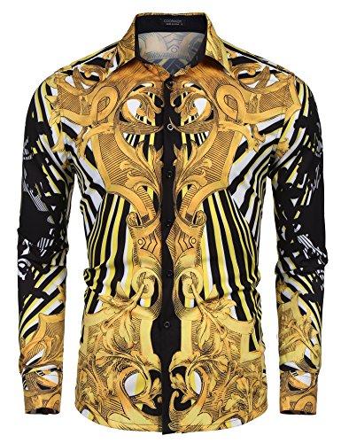 COOFANDY Men's Long Sleeve Luxury Print Dress Shirt Graphic Button Down Shirt (Golden(Palace Pattern), -
