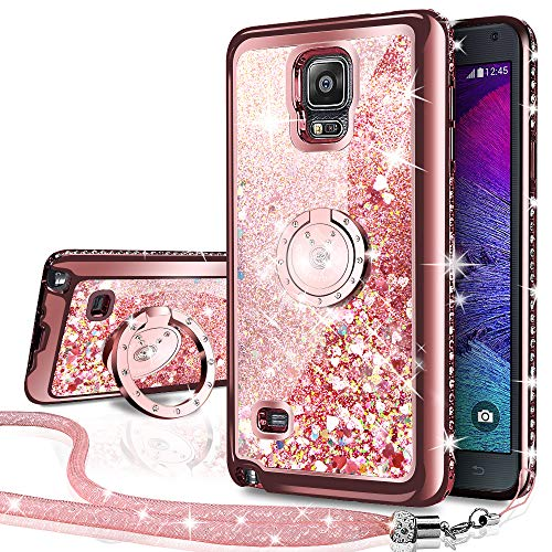 (Galaxy Note 4 Case, Silverback Moving Liquid Holographic Sparkle Glitter Case with Kickstand, Bling Diamond Rhinestone Bumper W/Ring Slim Samsung Galaxy Note 4 Case for Girls Women -Rose Gold)