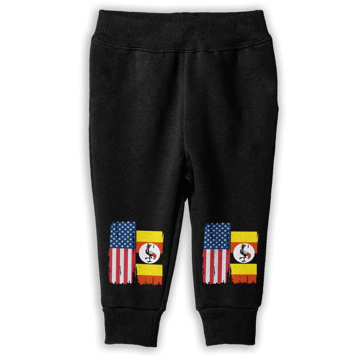NJKM5MJ American Uganda Flag Sweatpants Baby Girls Sport Jogging Pants
