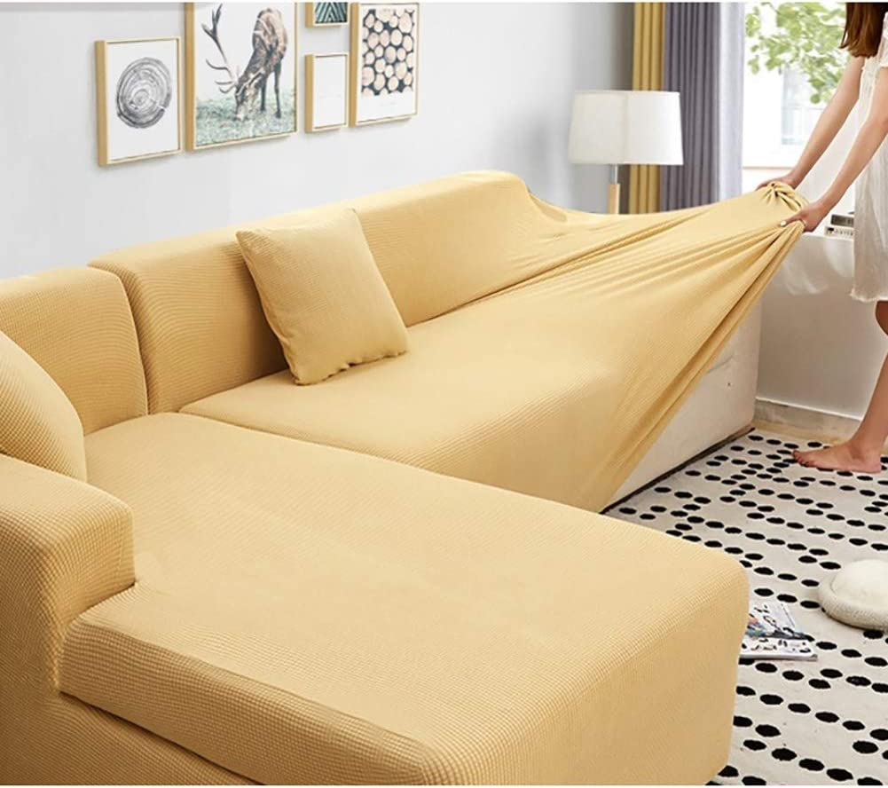 Corn Corduroy Sofa Cover Solid Color,Non Slip Stretch Sofa Slipcover L Shape Durable Sectional Couch Cover Protector Beige 4 Seater