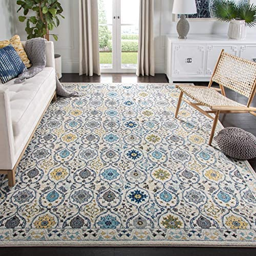 Safavieh Evoke Collection EVK210C Contemporary Ivory and Blue Area Rug 10 x 14
