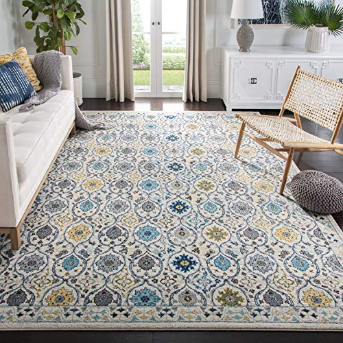 Safavieh Evoke Collection EVK210C Contemporary Ivory and Blue Area Rug 4 x 6