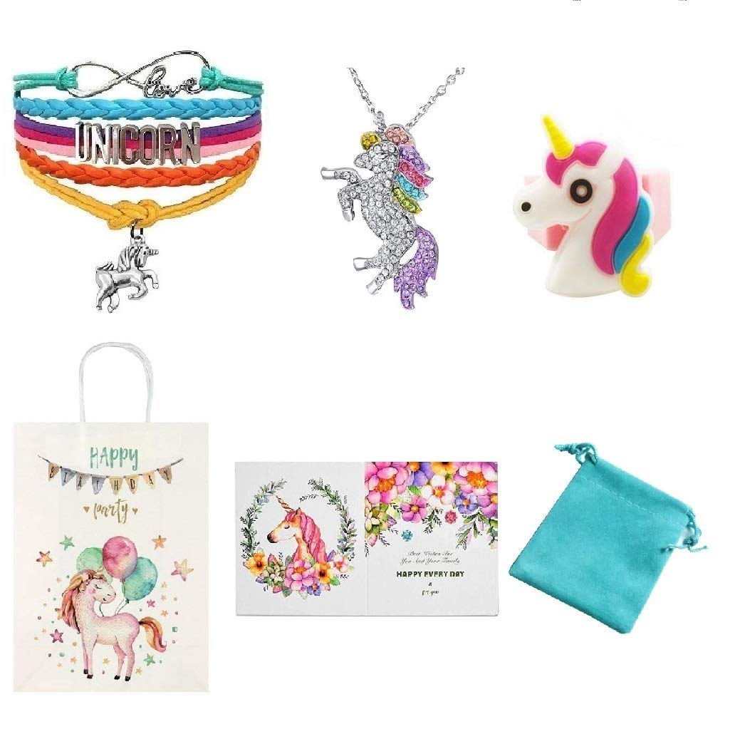 Necklace Bracelet Keychain Backpack Gift Card Set Unicorn Gifts for Girls Unicorn Goodie Bags Blue Unicorn Backpack