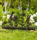 Plow & Hearth Outdoor Metal Dragonfly Decorative Garden Panel Sculpture with Ground Stakes, 21.75 L x 18.25 H