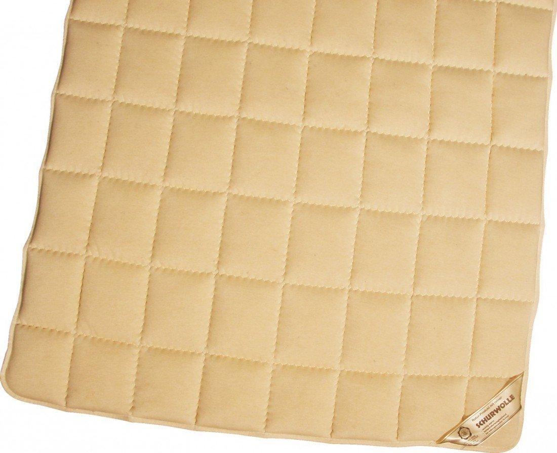 Matratzenauflage Modicana 100 x 200 Auflage aus 100% Schurwolle 750g m² - Bezug Makotrikot Edelsatin - Hochwertiges Unterbett für erholsamen Schlaf