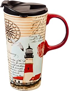 Cypress Home Ceramic Travel Mug with Gift Box, 17 ounces (Northeast Lighthouse)