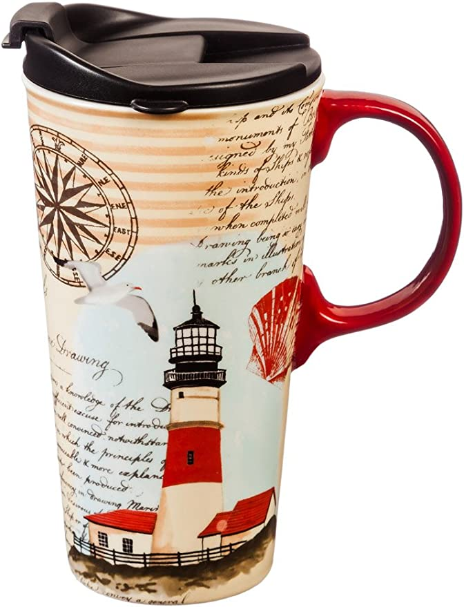 Cypress Home Ceramic Travel Mug With Gift Box 17 Ounces Northeast Lighthouse Kitchen Dining Amazon Com