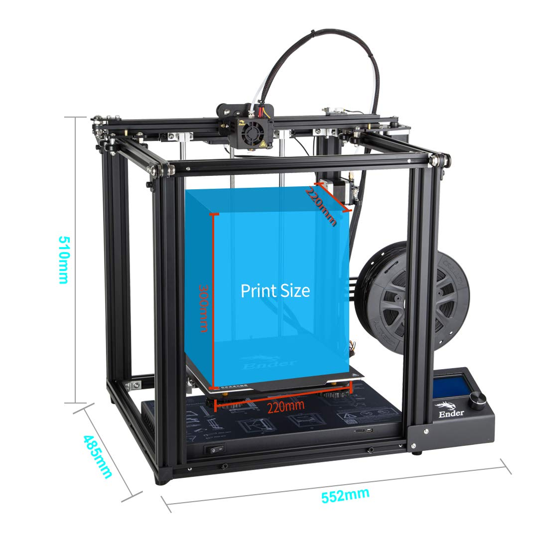 Creality Ender 5 3D Printer with Resume Printing Function Brand Power Supply and Update with Metail Extruder Frame