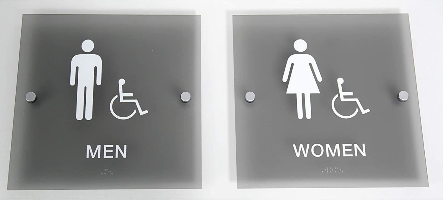 """Designer ADA Men Women Restroom Sign Set with Braille and Stand Off Mounts, 9"""" Square Smoke Grey"""