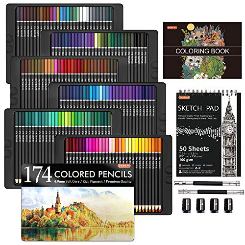 174 Colors Professional Colored Pencils, Shuttle Art Soft Core Coloring Pencils Set with 1 Coloring Book,1 Sketch Pad, 4…