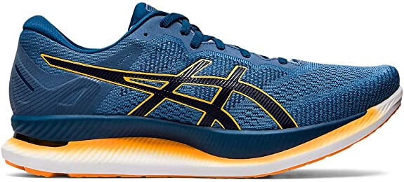 ASICS Men's GlideRide Running Shoes, 12M, Grey Floss/Mako Blue