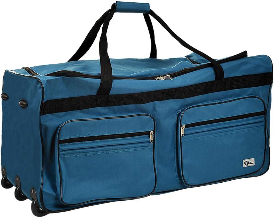 Deuba Bolsa de Viaje XXL Maleta Azul 160 litros 85 x 43 x 44 3 Ruedas 5 pies Mango telescópico extraíble Viajes